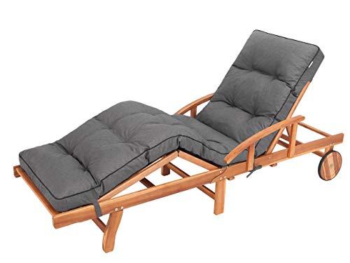 Liegenauflage, Auflage Gartenliege (Graphit) 201 x 55 cm, 8 cm dick, Auflagen für Deckchair, Bequeme Polsterauflage für Sonnenliege, Liegestuhl