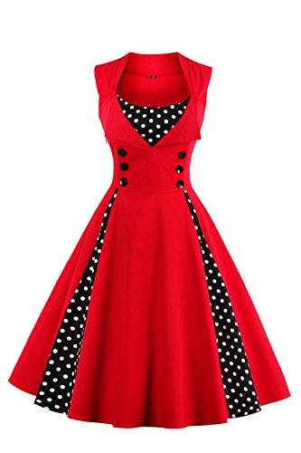 Babyonline Damen Polka Dots Vintage Kleider Winter Rockabilly Kleid Abendkleider Knielang S-4XL, Rot, M