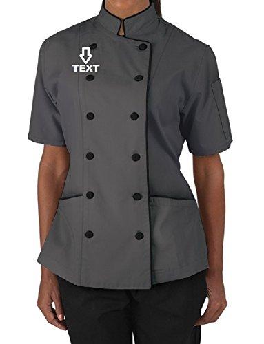 Nombre bordado manga corta mujer chaqueta de abrigo de chef de las señoras