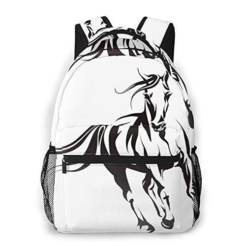 Laptop Rucksack Schulrucksack Mustang Running Pferdekopf, 14 Zoll Reise Daypack Wasserdicht für Arbeit Business Schule Männer Frauen