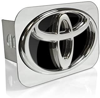Toyota 3D Logo Black Infill Chrome Tow Hitch Cover, Official Licensed
