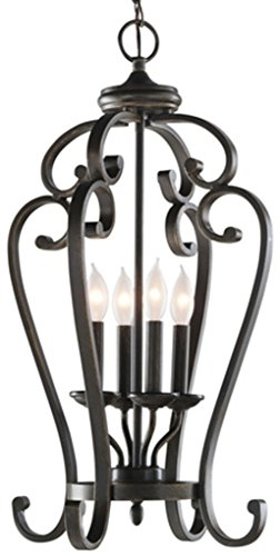 Linkhorn Aged Bronze Wrought Iron Single Cage Pendant 15-in