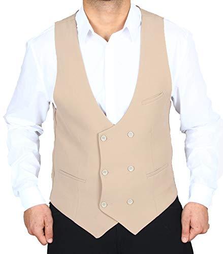 H K Mandel Vintage Herren Anzug Weste in Beige Sakko Blazeranzug Smoking Anzugweste Größe 44-62 Größe 50