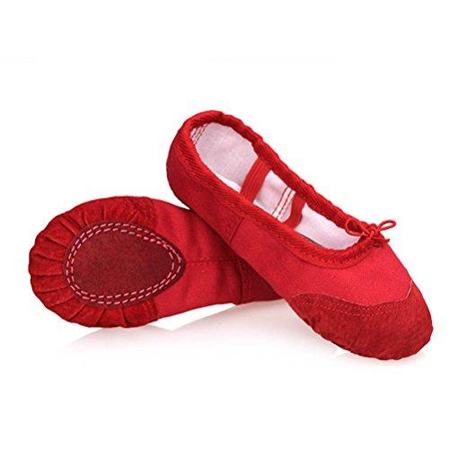 ARAUS - Scarpe da balletto, mezze punte, in tela, per bambini, per danza, yoga, palestra, rosso, EU24/CH25