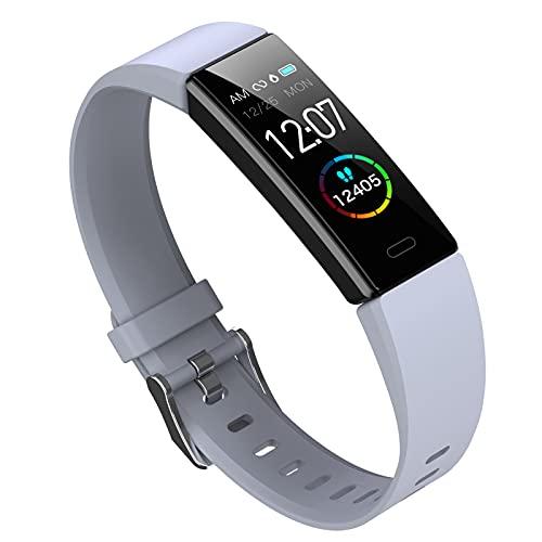 HQPCAHL Pulsera Actividad Inteligente, Reloj Inteligente Deportivo Impermeable IP68 para Hombre Mujer Niños Smartwatch con Pulsómetros Monitor De Sueño Caloría Podómetro,Regalo,Gris