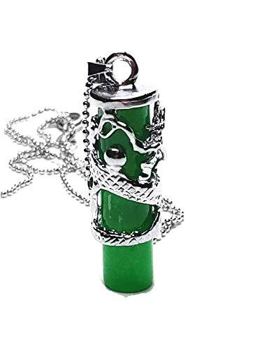 Tíbet - Collar con colgante de dragón verde de jade natural - Amuleteo - Protección