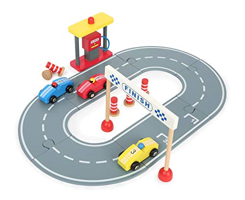 small foot 12013 kolejka wyścigowa wraz z zestawem do gry z drewna, okrągła trasa wyścigowa ze stacją paliwową, pylony i samochody drewniane, dla dzieci od 3 lat, zabawki, wielokolorowa