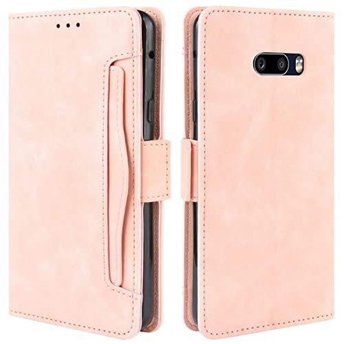HualuBro Handyhülle für LG G8X ThinQ Hülle, LG V50S ThinQ Hülle Leder, Flip Hülle Cover Stoßfest Klapphülle Handytasche Schutzhülle für LG G8X ThinQ Tasche (Pink)