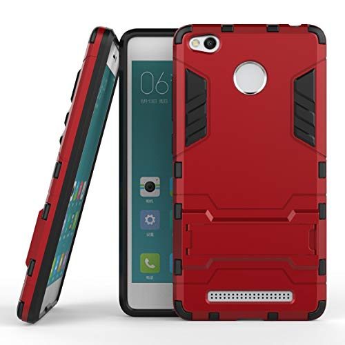 Yhuisen 2 in 1 Iron Armor Tough Style Hybrid Dual Layer Armor Defender PC + TPU beschermende harde behuizing met standaard [Shockproof Case] ​​voor Xiaomi redmi 3S / redmi 3 Pro (Color : Red)
