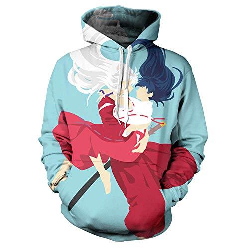 Designs Inuyasha Herren 3D Druck Kapuzenpullover Inuyasha Japanese Manga Anime Kleidung Pullover Sweatshirts Outwear Unisex Cosplay Hoodie,01-XXL
