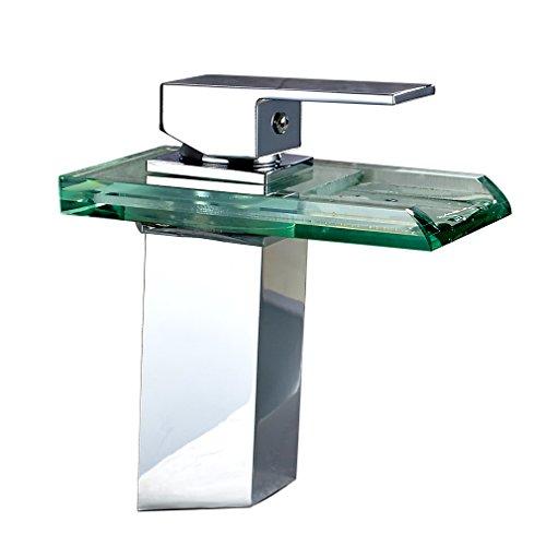 Auralum® LED RGB Bad Waschtischarmatur Wasserfall Chrom Wasserhahn Armatur Licht Badewannenarmaturen