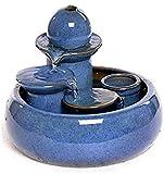 ANXWA Zimmerbrunnen Wohnzimmer Keramik Desktop Brunnen Handwerk Kreative Brunnen Wind Wasserrad Aquarium Luftbefeuchter Wasser Kleine Ornamente Zerstäuber,A
