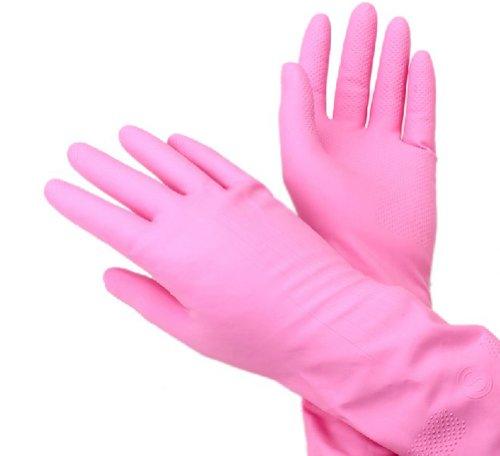 Lot de 2 (Nettoyage à laver Gants en latex Gants travaux ménagers Gants Rose
