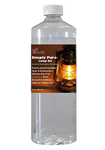 Firefly Kosher Candle and Lamp Oil - Smokeless & Odorless Base - Eucalyptus Scent - Ultra Clean Burning - Liquid Paraffin Fuel - Highest Purity Available - 32 oz