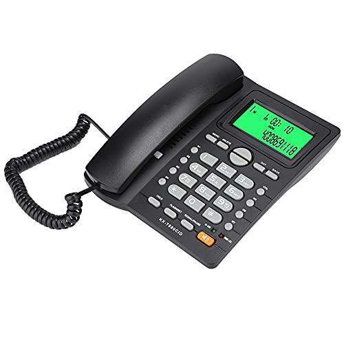 cigemay Teléfono Fijo para Empresas, Teléfono con Cable, Teléfono Escritorio con Cable con Función Silencio en Pantalla Identificación Llamadas, Teléfono Fijo con Cable con Función Marcado(Negro)