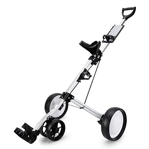Jtoony Golfwagen 4 Rad Golf Push Cart mit Bremse Golf Bag Trolley Quick Fold Scorecard Flaschenhalter Golftrolley