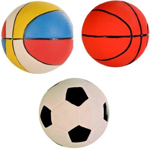 3 Balles de jeu, latex, ø 13 cm avec son (les chiens aiment essayer de les mettre à la bouche!)
