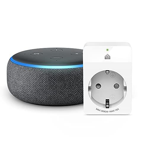 Echo Dot (3. Gen.) Intelligenter Lautsprecher mit Alexa, Anthrazit Stoff + TP-Link Kasa WLAN Smart Steckdose, funktioniert with Alexa