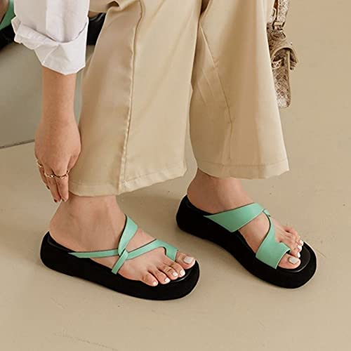 Yuxahiugtuoxi Flip Flop, Real Leather Women Slippers Platform Clip Toe Solid Color Thick Bottom Slides Summer Fashion Female Footwear (Color : Green, Shoe Size : 6)