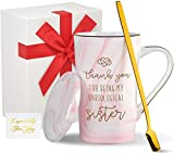 Wowtina Best Friend Coffee Mugs for Women Birthday Gifts for Friends Female Unbiological Sister Mug Ceramic Coffee Mug with Lid 14 Oz Novelty Tea Mugs Microwave and Dishwasher Safe Cup
