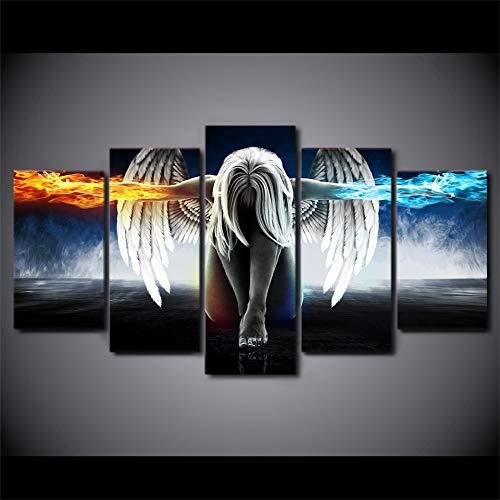 FYZKAY Bilder 5-teilig Leinwandbilder Leinwandbild Engel Mädchen Flügel Feuer und EIS Moderne dekorative Gemälde auf Leinwand Wandkunst für Inneneinrichtungen Wanddekoration Rahmenlos