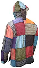 Gheri Mens Pixie Patchwork Long Hood Lightweight Festival Hoodie Medium #3