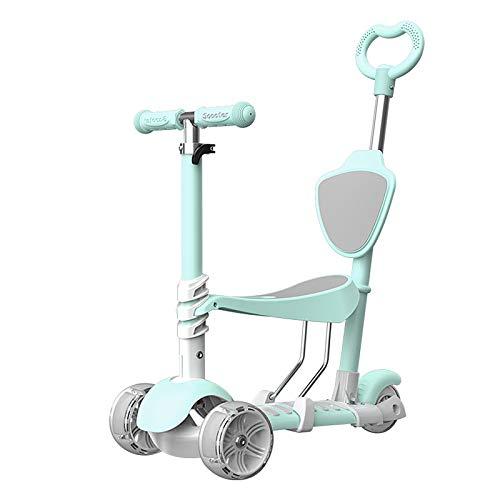 LABYSJ Patinete 3 en 1, Bicicleta de Equilibrio de 3 Ruedas con Asiento Desmontable Opcional, Altura Ajustable Scooter, para niños, niñas, Mayores de 1 año, Rueda de Flash LED, Carga 100 kg,Verde