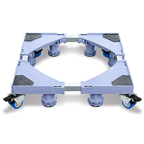 Podeste & Rahmen für Waschmaschinen Sockel Untergestell mit Multifunktionaler und Verstellbarer Möbelträger mit Rollen für Trockner, Waschmaschine und Kühlschrank(44-75cm)- 8Füße + 4Räder