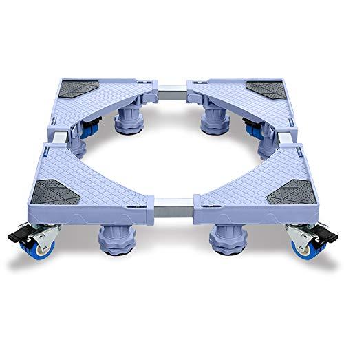Base e telaio per lavatrici, base con supporto multifunzionale e regolabile, con ruote per asciugatrice, lavatrice e frigorifero (44-75 cm), 8 piedi + 4 ruote