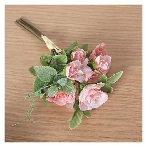 ZHMYENGMING Flores Artificiales Colores de otoño 7 Cabezas de Flores Mini Flores Artificiales Bricolaje Flores Falsas Hechas a Mano Rosas casero decoración de Boda (Color : Pink)