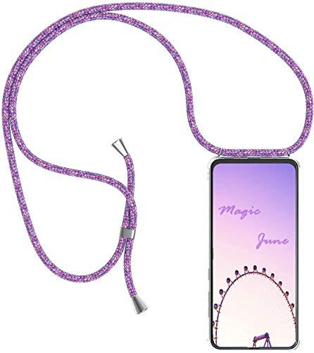 PekaTech Handykette Handyhülle kompatibel mit Motorola Moto G6 Hülle, Smartphone Necklace Hülle mit Band - Transparent Schutzhülle Stossfest - Schnur mit Case zum Umhängen in Violett