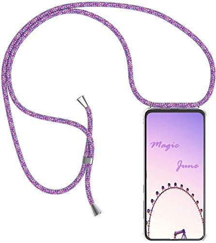 PekaTech Funda Transparente con Cordón para Apple iPhone 7 Plus/iPhone 8 Plus - Carcasa con Cuerda y Esquinas Reforzadas con Correa - Elegante Case Cover con Collar de Cordón Cruzado, Morado