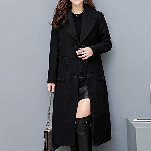 NPRADLA Women Ladies Winter Lapel Slim Long Coat Jacket Parka Outwear Wool Overcoat Black