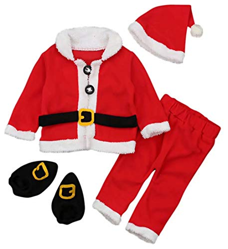 Baby Christmas Santa Claus Fleece Tops Coat+Pants+Hat Shoes Infant New Year Clothes Size 12-18 Months/Tag90 (Red)