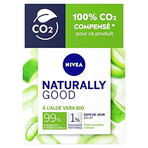 NIVEA NATURALLY GOOD Soin de Jour Coup d'Éclat 50 ml, Soin visage avec 99% d'ingrédients d'origine naturelle, crème de jour à l'Aloe Vera BIO & aux huiles précieuses