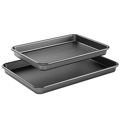 Super Thick 0.7mm Nonstick Cookie Sheet Pan, Metal Baking Tray, 2 Pack Baking Sheet Pans, Large and Medium Cookie Pan Set