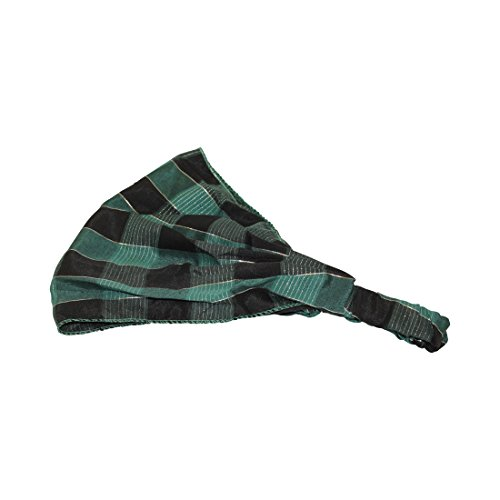 Green Plaid Soft Wide Holiday Headband Boho Head Wrap (Motique Accessories) by Motique Accessories