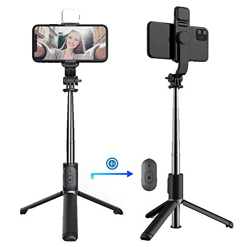 JUYOEOVLD Selfie Stick Tripod with Bluetooth&Fill Light,30 inch Extendable Adjustable Phone Tripod,Lightweight Travel Tripod with Wireless Remote,Compatible with iPhone 12 Pro Max/11 Pro Max/11 Pro