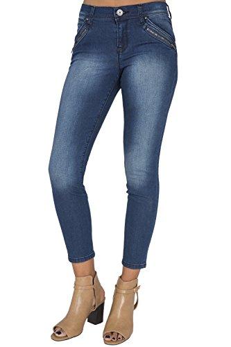 Women's Blue Medium Wash Ankle Zipper Crop Premium Jeans 4