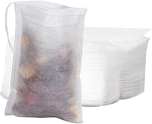 KiKiHong 200 Pcs Bolsas de Té Cordón, Desechables Filtro Bolsita de Té Bolsas de Filtro de Papel para Té de Hojas Sueltas