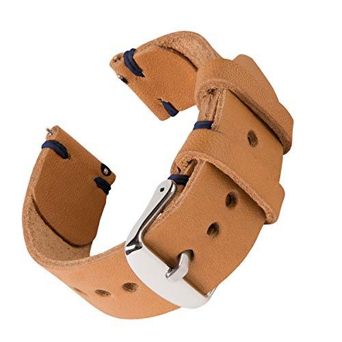 Archer Watch Straps - Cinturini Orologio da Polso a Sgancio Rapido, Band Ricambio in Pelle Lavorata a Mano Horween per Orologi e Smartwatch (Nero/Intreccio Rosso, 18mm)