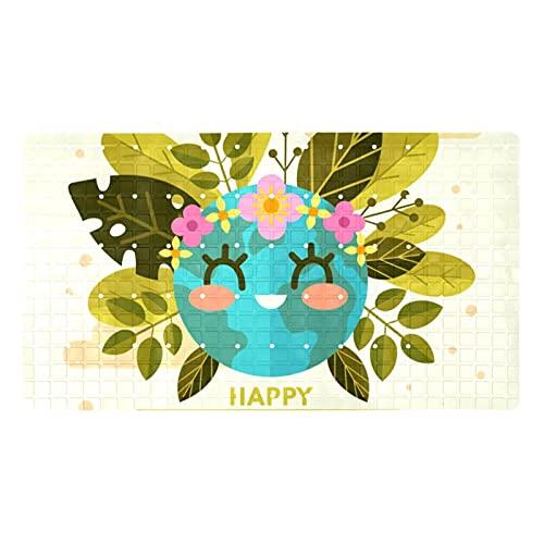 Bathroom mats 40x71cm Bath Mat Soft Non-Slip Machine-for Bathtub Shower,Happy Mother Earth Day With Cute Planet