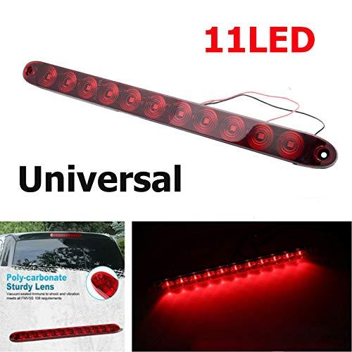 Riloer Luce di stop posteriore per auto, universale 12V 11 LED Terzo portellone Luce di stop ad alto livello Lampada di coda, luce rossa