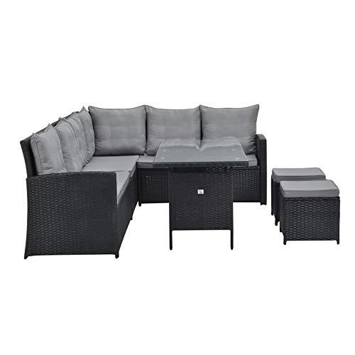 SVITA Monroe Garten-Lounge Set Polyrattan Lounge-Möbel Sitzgruppe Garten Schwarz - 6
