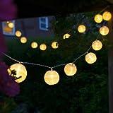 Uping Guirnalda Luminosa LED, 20 Farolillos 3.6 m, Funciona Con Pilas, Decoración Exterior...