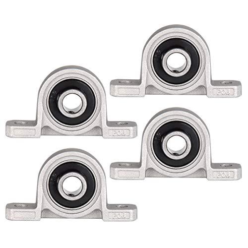 Wenxiaw Rodamientos de Carcasa de Bloque Bloque de Cojinetes 8 mm Bloque de Cojinetes con Brida Cojinetes de Carcasa de Aleación de Zinc, Kit de Accesorios para Impresora 3D, KP08, 8 mm, 4 Piezas