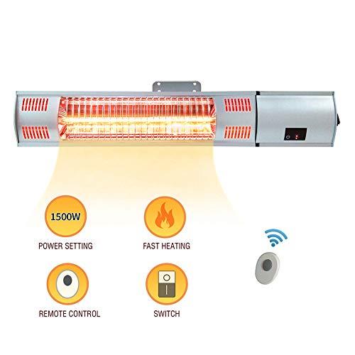 ART TO REAL infrarood elektrische wandverwarming met afstandsbediening, binnen- terrasverwarming, rondom waterdichte infrarood warmtestraler, 120 volt, 750/1500 W (gouden buizen)