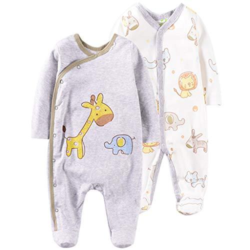Pack de 2 Bebé Mameluco de Manga Larga Mono Body Algodón Peleles Comodo Pijama Regalo de Recien Nacido, 0-3 Meses