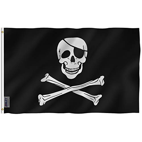 Anley Fly Breeze 3x5 Foot Jolly Roger Flag with Patch - Vivid Color and Fade Proof - Canvas Header and Double Stitched - Pirate Flags Polyester with Brass Grommets 3 X 5 Ft