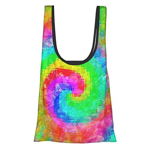 Faltbare wiederverwendbare Einkaufstasche, Einkaufstasche, umweltfreundlich, wasserabweisend, leicht, Regenbogenfarben, Batik-Wirbelmuster